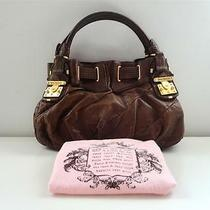 398 Authentic Juicy Couture Brown Leather Freestyle Lock Satchel Hobo Tote Bag Photo