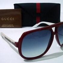 399 Gucci Gg 1622/s Unisex Aviator Sunglasses Red & White With Green Gucci Logo Photo