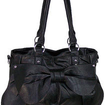 3d Bow Ladies Designer Inspired Hobo Tote Handbag Purse Black Photo