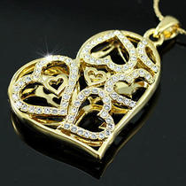 3d Heart Pendant & Necklace Use Swarovski Crystal Sn151 Photo