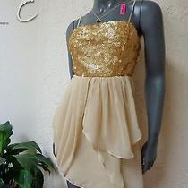 3pc Lot Golden Sequin Party Dress Szm Plus Betsey Johnson Necklace &earrings D7 Photo