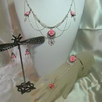 3pc Pink Ab Swarovski Crystal Circlet/necklace Set Photo