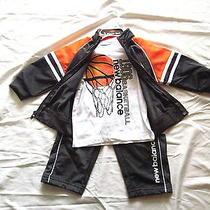 3pc Set 48 New Balance Jacket Shirt Pant Track Suit Boy 18m Grey Orange Outfit Photo