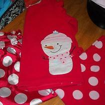 3pc Set  Size 5 Carter Pj Set Girls Red W/ Snowman On Photo