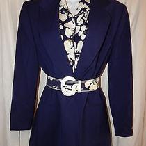 3pc Set Women 36 L Escada Margaretha Le Navy Blue Floral Silk Wool Blazer Jacket Photo