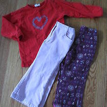 3pcs Girls Outfits Set Lot Talbots Kids Me2 Carter's Red Top Corduroy Pant 2t 2  Photo