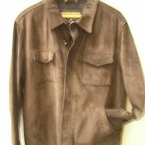 3pt8 Coach Men's Chocolate Brown Suede Leather Car Coat Jacket Size L   St135 Photo