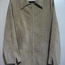 3x Karen Kane Plus Womens Leather Jacket Shirt Suede Genuine Beige Solid Photo