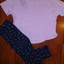 4 5 T Gap Kids 2pc Lavender Top Navy Blue Cut Out Fruit Capri Leggings Girl Nwt Photo