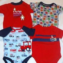 4 Baby Boys Newborn Short Sleeve Bodysuits  Photo