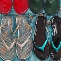 4 Flip Flops Black Sandals Women's - Size 7/8 Medium Photo