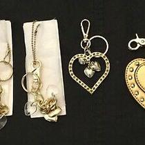 4 Gold Tone Kathy Van Zeeland Key Chain Rings Fobs Hearts New Photo