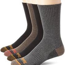 4 Pack Timberland Outdoor Leisure Crew Socks 9-12  Brown Gray & Black  Photo