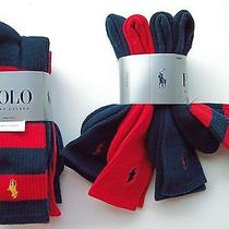 4 Pairs Crew Socks Mens Ralph Lauren Polo Red Navy Blue Stripe Athletic Rare Photo