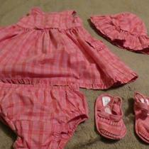 4 Pc Dress Set Gap Pinkmatching Hat Shoes Size 3/6 M Photo