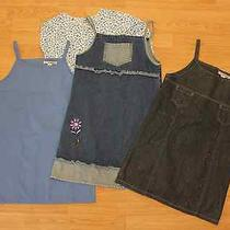 4 Pc Lot Denim Dresses Christie Brooks 14 Jean Sun Dress/shirt Childrens Place Photo