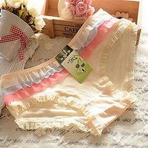 4 Pcs Yellow Falbala Women Briefs Panties Underpants Lingerie Underwear Photo