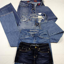 4 Piece Lot American Eagle Express Boyfriend Jeans Skirt Womens Size 0   N-3 Photo