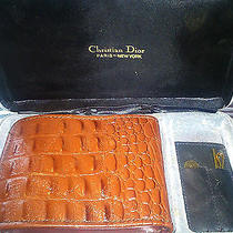 4 Pieces Set Christian Dior Gold Tone Tie Pin in Box With Lesther Case & Wallet Photo
