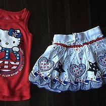 4 Xs Sanrio Hello Kitty Tank &  Patriotic Skirt 4th July Spring Summer Memorial Photo
