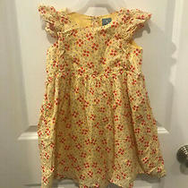4 Years Baby Gap Yellow Empire-Waisted Dress With Pink Flower Detail Photo