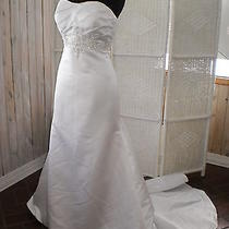 402 Beautiful Eden Bridals 2397 White Sz 10 Beaded Strapless Wedding Gown Dress Photo