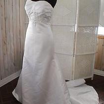402 Beautiful Eden Bridals 2397 White Sz 10 Beaded Strapless Wedding Gown Dress Photo