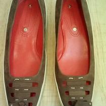 405 Authentic Celine Brown Micro suede&cream Patent Leather Flat Shoes Sz 7.5b Photo