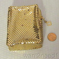40s/50s Vtg Whiting Davis Gold Mesh Zip Case Cigarette Card Photo