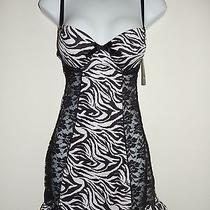 42 Nwt Zebra Rampage Babydoll Lingerie Black Lace Small Photo