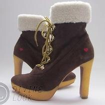 420 Nib Love Moschino Ja2405bh0wja0301 Ankle Boots Dark Brown Women's 7 Photo