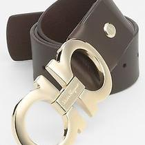 420 Salvatore Ferragamo Men's Oversized Gold Double Gancini Brown Belt Size 34 Photo