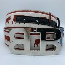 425 Bally Animals Leather Reversible Red and Black Belt 105/42 Made in Italy Photo