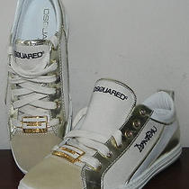 425 Dsquared2 Gold Leather Sneakers Trainers White/tan Tape Logo 40 Eu / 9.5 Us Photo