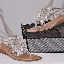 425 Metallic Leather Sigerson Morrison Italy Fringe Thong Wedge Heel Sandals 11 Photo