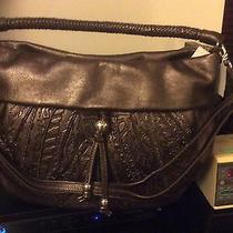 425 Nwt Brighton Nina Pewter Leaf Design Leather Convertible Hobo Bag H3313p Photo
