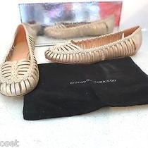 425 Sigerson Morrison Brian Wash Metallic Beige/nude Dress Flat Size 8 Photo