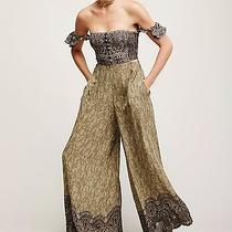 4349 Nwd Free People Green Midsummer Dream Printed Off Shoulder Jumpsuit M 8 Photo