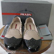 435 Prada Vernice Bicolo Black Nude Patent Oxford Smoking Ballet Flat 39 9 8.5 Photo