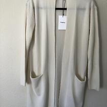 435 Theory Rib Sleeve Open Front Long Cardigan Ivory Soft P Cashmere Nwt Photo