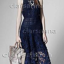 4350 Chloe Feminine Crocheted Diamond Rustic Lace Overlay Fluted Skirt Dress 36 Photo