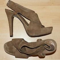 440 Diane Von Furstenberg Taupe Suede Leather Platform Sandals Us 7.5 Photo