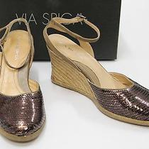 440539 via Spiga Brown Sequin Larky Strappy Sling Back Wedges Size 8.5 Photo