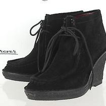 448 Marc by Marc Jacobs Stylish Black Suede Wedges Boots Sz. 36.5 M New Photo