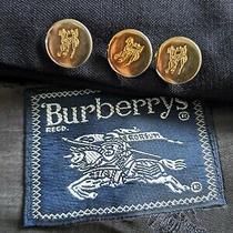 44l Vtg Burberrys Knight Gold Button Blue Hopsack Tweed Blazer Jacket Sport Coat Photo