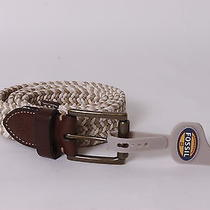 45 Fossil Men's Belt Canvas/leather 38/95 Beige/brown New Photo