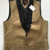 45 G by Guess Ravine Coated Twill Vest With Black Contrast Satin Lapel Size M Photo
