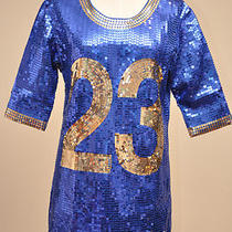 450 Adidas Jeremy Scott Womens Sequined Football Jersey Dress Blue/gold M Photo