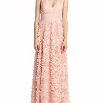 450 Aidan Mattox Blush Sleeveless Chiffon Flower Formal Full-Length Gown 6 Photo