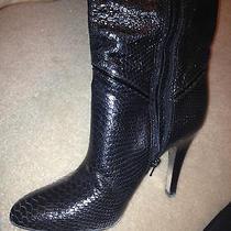 450 Bcbg Maxazria Black Leather Boots Shoes 37 7 4 W Box Like Helmut Lang Photo